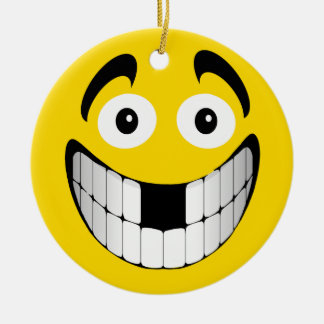 Yellow Big Grin Smiley with Missing Teeth Round Ceramic Ornament