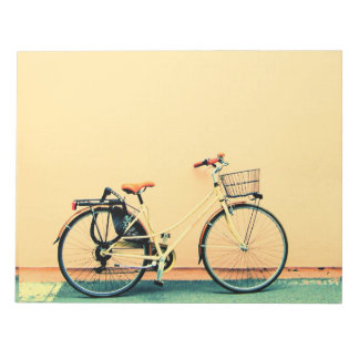 Yellow Bike Basket Bicycle Two Wheel Notepad