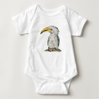 Yellow-Billed Hornbill Watercolor Painting Baby Bodysuit