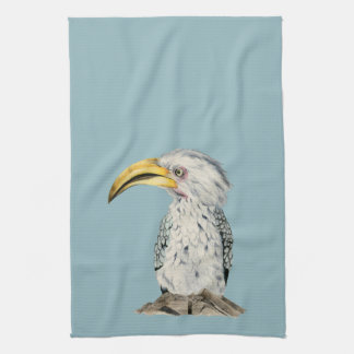 Yellow-Billed Hornbill Watercolor Painting Kitchen Towel