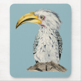 Yellow-Billed Hornbill Watercolor Painting Mouse Pad