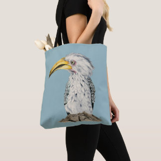 Yellow-Billed Hornbill Watercolor Painting Tote Bag