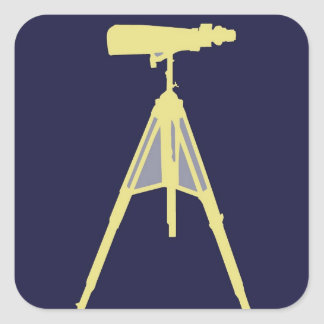Yellow Binoculars in Navy Blue background. Square Sticker