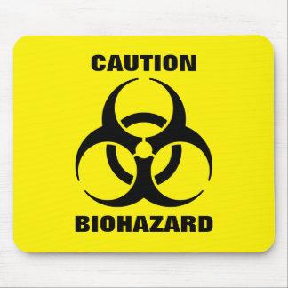 Yellow Biohazard Symbol Warning Sign Mouse Pad