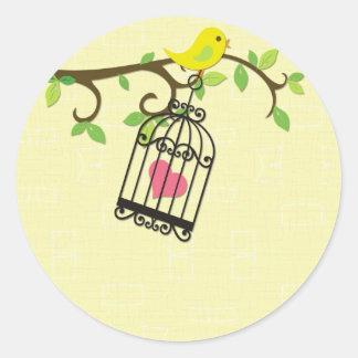 Yellow Bird, Birdcage Classic Round Sticker