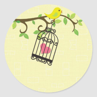 Yellow Bird, Birdcage Round Sticker