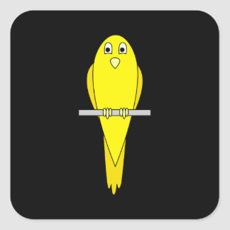 Yellow Bird Canary On Black Square Stickers
