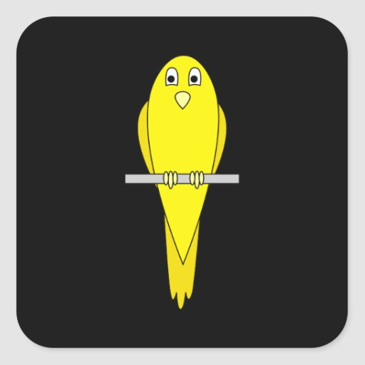 Yellow Bird. Canary. On Black. Square Stickers