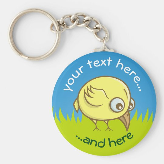 Yellow bird cartoon basic round button keychain