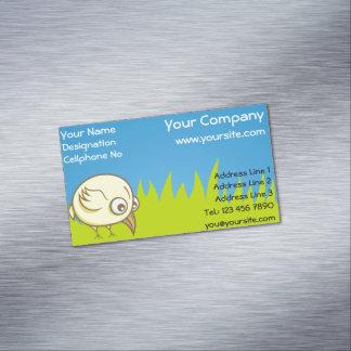 Yellow bird cartoon business card magnet