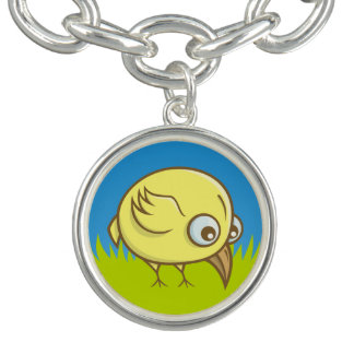 Yellow bird cartoon charm bracelets