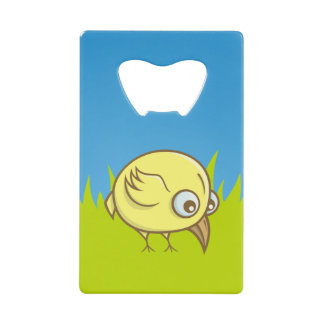 Yellow bird cartoon credit card bottle opener