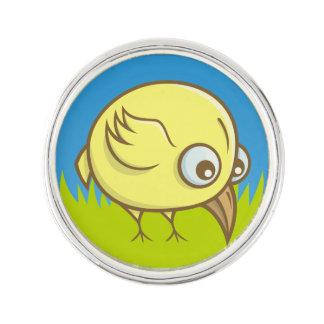 Yellow bird cartoon lapel pin
