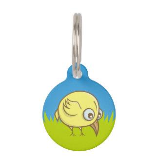 Yellow bird cartoon pet tag