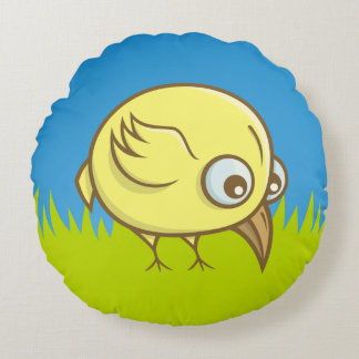 Yellow bird cartoon round pillow