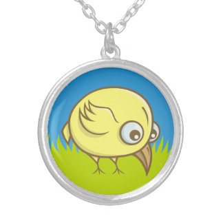 Yellow bird cartoon silver plated necklace