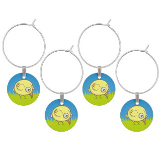 Yellow bird cartoon wine glass charms