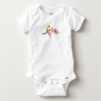 Yellow Bird Cherry Blossom Branch Baby Onesie