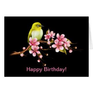 Yellow Bird Cherry Blossom Happy Birthday! Card