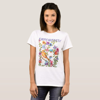 YELLOW BIRD EMPOWERED WHIMSICAL WATERCOLOR FLOWER T-Shirt