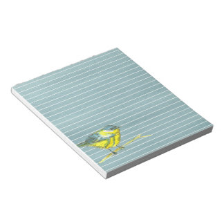 Yellow Bird Gray Lined Notepad