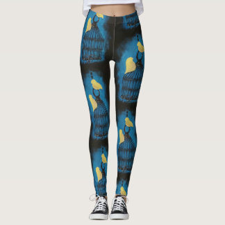 Yellow Bird Hand Painted Leggings