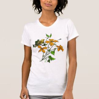 Yellow Bird on Orange Tiger Lilies T-Shirt