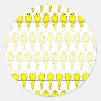 Yellow Bird Pattern. Canaries. Classic Round Sticker