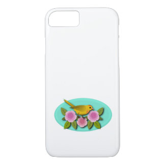 Yellow Bird Pink Peonies and Aqua Oval Case-Mate iPhone Case
