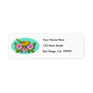 Yellow Bird Pink Peonies and Aqua Oval Return Address Label