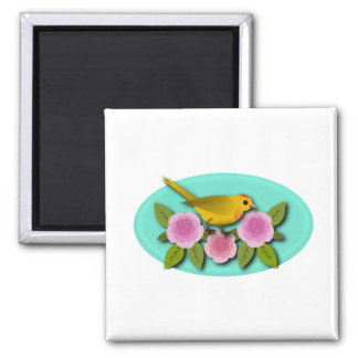 Yellow Bird Pink Peonies and Aqua Oval Square Magnet
