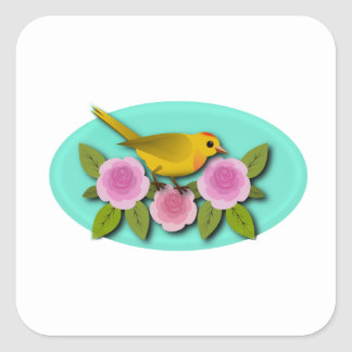 Yellow Bird Pink Peonies and Aqua Oval Square Sticker