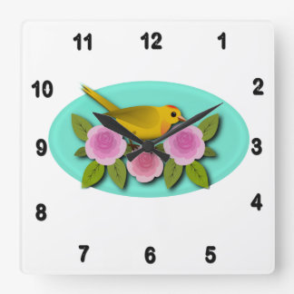 Yellow Bird Pink Peonies and Aqua Oval Square Wall Clock
