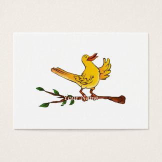 yellow bird singing cartoon business card