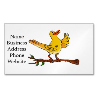 yellow bird singing cartoon magnetic business card