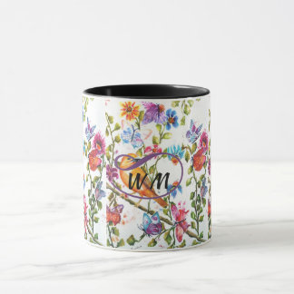 YELLOW BIRD WHIMSICAL WATERCOLOR FLOWERS MUG