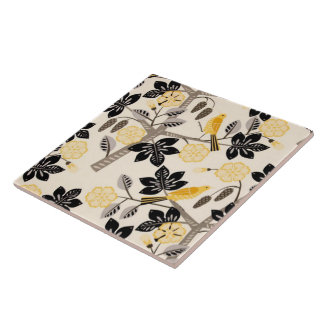Yellow Birds Ceramic Tile