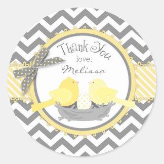 Yellow Birds Nest Egg Chevron Print Thank You Classic Round Sticker