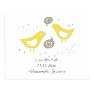 yellow birds talking about love std horizontal postcard