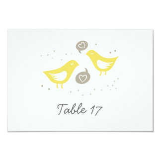 "yellow birds talking about love table number 3.5"" x 5"" invitation card"