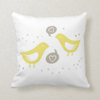 yellow birds talking about love throw pillow