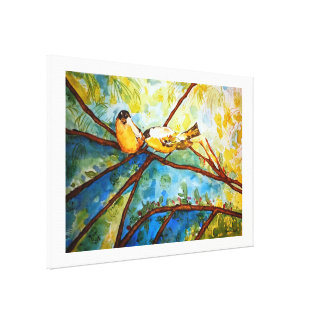 Yellow Birds Watercolor Canvas Print 36x24