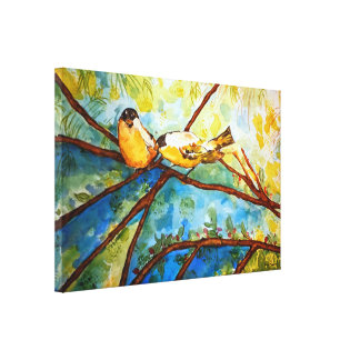 Yellow Birds Watercolor Print Wrapped Canvas 20x13