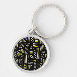 Yellow Black Abstract Silver-Colored Round Keychain
