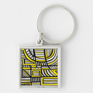 Yellow Black Abstract Silver-Colored Square Keychain
