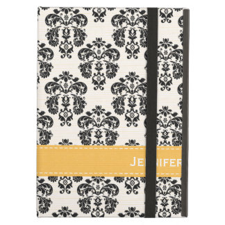 Yellow Black amd White Damask Case For iPad Air