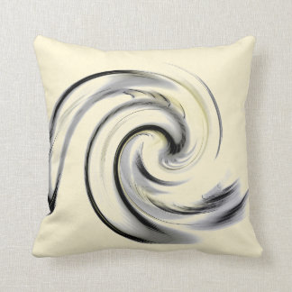 Yellow, Black and Gray Smokey Swirl Throw Pillow