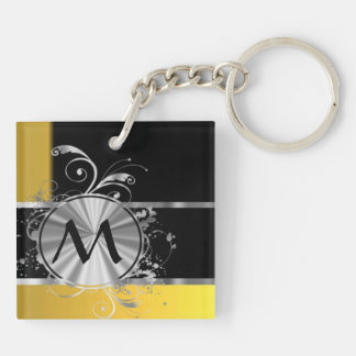 Yellow black and silver monogram keychain