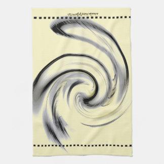 Yellow, Black and Smokey Gray Swirl Kitchen Towel