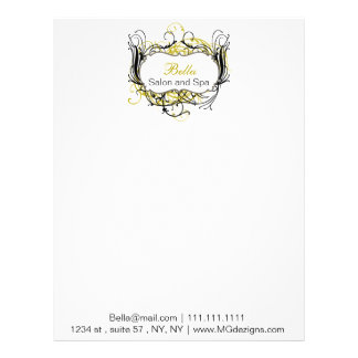 yellow, black and white Chic Business letterheads Letterhead Template
